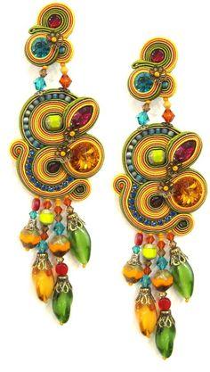 Tangerine Collection Earrings Soutache Necklace, Tassel Earrings, Ring Earrings, Statement Earrings, Boho Jewelry, Jewelry Crafts, Jewelry Accessories, Orange Dress, Jewellery Making