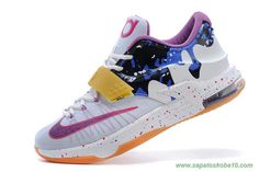 Masculino Nike KD VII PBJ KDVII-033 Branco Fuchsia Flash Team Laranja Grape