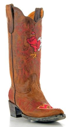 Gameday Virginia Tech Ladies Leather Boots VT-L079-1 - Brass