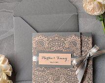 Custom listing (100) Peach Wedding Invitations, Lace grey and Peach invitation, Vintage Wedding Invitations
