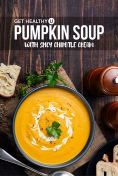 You have to try this pumpkin soup with spicy chipotle cream! It's ...