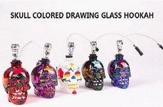 Glass Water Pipe Bong Hookah Shisha Colorful Skull Head with Tube Tobacco Holder #LST