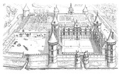 "00- Early Renaissance Chateaux-The Château of Bury, 1525, Loire valley (dem. 17th. century). ""Around mid-sixteenth century, in the Loire Valley,  a number of  Renaissance chateaux were built. The early French Renaissance chateau, were evolved from the feudal castle of the Middle Ages. The plan of the feudal castles were generally irregular and shaped inward looking with defensive towers, and often with high-pitched roofs, because of the climate."""