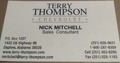 Best sales experience!  Go see Nick Mitchell at Terry Thompson.