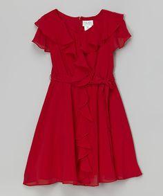 Red Ruffle Dress #zulily #ad *so pretty