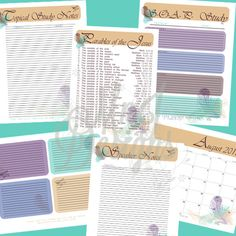 Customized Bible Study Journal and Notes 35 PDF Printables. Awesome way to get your act together and stat organized with various Bible studies, notes, prayer requests, and so on. Included reference pages including stories from the Bible, Books of the Bible, and so on