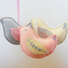 Dove Ornament  hand embroidered  in gray pink blue by 2dogsstitch
