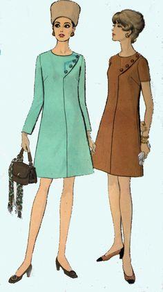1960er Jahre eine Linie Kleid Vogue 7611 Vintage 60er Jahre Mod Madman asiatischem Einfluss Womans Nähen Muster Größe 14,5 Büste 37