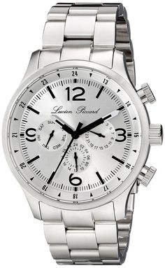 Lucien Piccard Men's LP-13013-22S Avalon Analog Display Swiss Quartz Silver Watch >>> Click image to review more details.