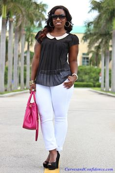 Cute Skinny white jean with Wedges and blouse outfits -