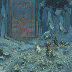 """The Master Gate, gouache and ink, ©Nicole Gustafsson 2013 """"Another fantasy based piece depicting our groups Dungeons and Dragons characters"""" Art Inspo, Kunst Inspo, Art And Illustration, Fantasy Kunst, Fantasy Art, Dungeons E Dragons, Art Environnemental, Ouvrages D'art, Geek Art"""