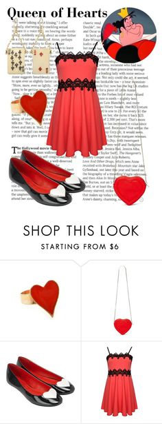 """""""Queen of Hearts"""" by wonderlandofgeeks ❤ liked on Polyvore featuring Monsoon, Lulu Frost, vintage, disney, aliceinwonderland and QueenOfHearts"""