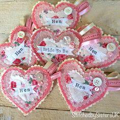 hen party badges Hen Do hen night handmade heart Keepsake