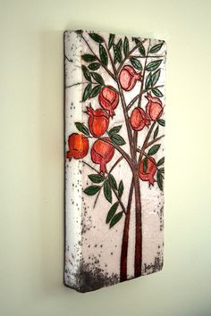 Pomegranate Tree Ceramic Wall Art by derinmavibodrum on Etsy Ceramic Wall Art, Ceramic Clay, Tile Art, Ceramic Pottery, Middle Eastern Decor, Clay Tiles, Paperclay, Fruit Art, Wall Sculptures