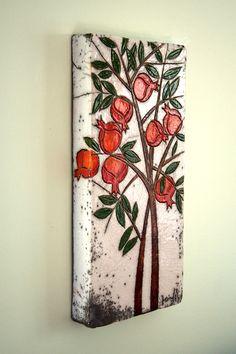 Pomegranate Tree Ceramic Wall Art by derinmavibodrum on Etsy