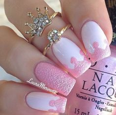 Royal pink nails, nail art ✿⊱╮