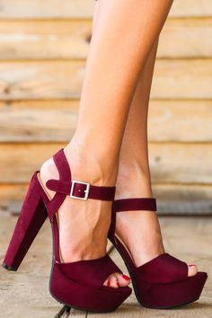 A-list Platform Heels-Maroon - New Today | The Red Dress Boutique