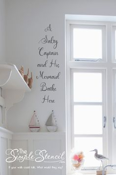 High quality beach home vinyl wall decor that looks painted on, easy to install and removable! Customize to match your nautical inspired bathroom or beach home master bathrroom in a fun whimiscal beachy way! Many sizes and colors you can preview online before you buy. Satisfaction Guaranteed. #Beachhome #beachhouse #nautical #beachhomedecor #beach #ocean #sea #salty #captain #mermaid #bathroom #beachbath #walldecor #roomdecor #bathroomdecor #masterbath #masterbathdecor #homedecorideas #art Beach House Bathroom, Mermaid Bathroom, Beach Theme Bathroom, Nautical Bathrooms, Bathroom Wall Decor, Bathroom Colors, Beach House Decor, Home Decor, Vinyl Decor