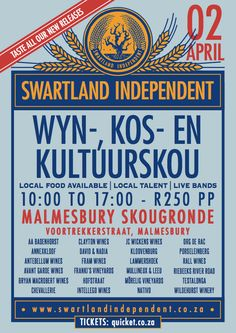 02.04.2016 - WYN-, KOS- EN KULTUURSKOU - SWARTLAND INDEPENDENT #wine #SouthAfrica Live Band, Kos, Champagne, South Africa, Events, Drink, Happenings, Beverage, Drinks