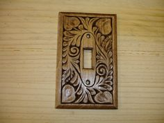 Hand carved Mahogany single light switch cover by creativemind44, $22.00