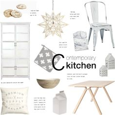 Contemporary Kitchen by little-bumblebee on Polyvore featuring interior, interiors, interior design, home, home decor, interior decorating, Office Star, Muuto, OKA and Seletti