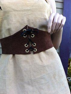 """Handmade Womens Brown Leather Corset Waist Cincher Belt  39""""- 42"""" Renaissance Style"""