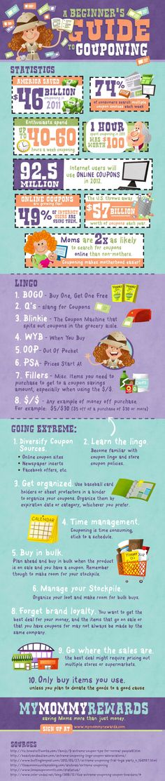 INFOGRAPHIC: A BEGINNER'S GUIDE TO COUPONING    Want to save money? You should take up couponing. In 2011, Americans saved 46 billion by couponing. If you take it to the extreme, you will have a new full-time job by spending 40-60 hours a week couponing.    View this infographic by My Mommy Rewards for tips and tools to master the art of couponing.