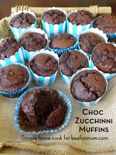"""Choc Zucchini Muffins (refined sugar free). My take on making them gluten and dairy free: - I swap the self raising flour with brown rice flour (or 50/50 brow rice and buckwheat flour) and tsp of gluten free baking powder - I swap the milk with oat milk and butter with coconut oil. And add """"chia egg"""" for additional goodness:)"""