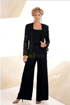 Wholesale Mother's Dresses - Buy High Quality Three-peice Elegant Black Chiffon Mother Of The Bride Pant Suits PLUS SIZE Wedding Mother Dress, $81.68 | DHgate.com