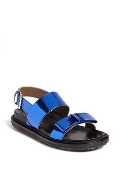 Marni Fussbett Metallic Bow Sandal Bluette