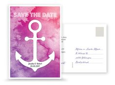 Save the Date – Anker Wasserfarbe in Pink