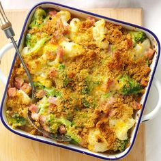 Ham Veggie Casserole Recipe Ive paired ham with broccoli and cauliflower for years To complete this casserole dinner I pass around the dinner rolls Sherri Melotik Oak Cr. Turkey Casserole, Veggie Casserole, Casserole Dishes, Casserole Recipes, Farmers Casserole, Casserole Ideas, Chicken Casserole, Pork Recipes, Mexican Food Recipes