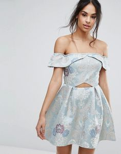 Missguided | Missguided Brocade Off The Shoulder Skater Dress