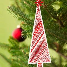 Patterned-Paper Ornaments: Paper ornaments are some of the easiest designs to make at home. Cut out a tree shape from festive holiday-motif cardstock. Mat the tree on white paper, then add rhinestone trim and a snowflake on top.