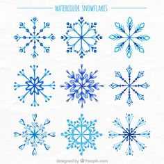 Watercolor snowflakes collection Free Vector