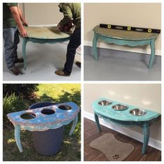 Diy dog bowls for my Great Danes out of an old antique table we found - Tap the pin for the most adorable pawtastic fur baby apparel! You'll love the dog clothes and cat clothes! <3