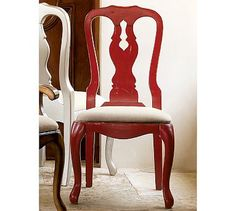 Queen Anne Side Chair, Ming Red stain #potterybarn