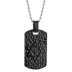 Mens Steel Jewelry - Men's Black Plated Steel Star Of David Dog Tag Chain Available Exclusively at Gemologica.com