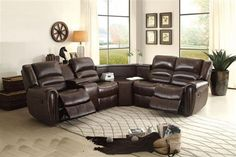 Palmyra Dark Brown Bonded Leather Sectional