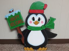 Christmas Penguin with Happy Holidays Sign Wood by chardoman, $35.00