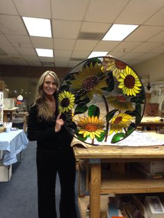 Sunflower stained glass window I made for my best friend. Took my many months, and over 300 pieces of glass.