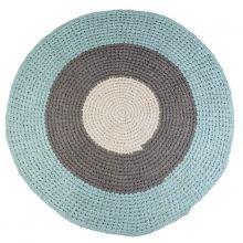 sebra Häkel-Teppich rund blau-grau