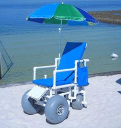 Beach Wheelchair (Reclining - Swivel Wheels in Back)