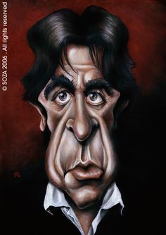 AL PACINO - Caricature made in acrylic ink on cardboard. Honorable mention in International Humor Hall Of Limeira (2010).