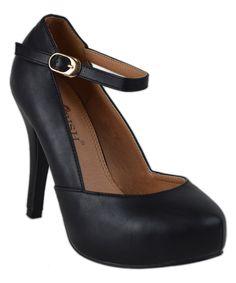 Black Audreyy Ankle Strap Pump $22