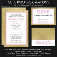 Cutie Patootie Creations, Bat Mitzvah Invitation, Bar Mitzvah Invitations, B'nai Mitzvah Invitation, B'not Mitzvah Invitation, customizable invitations, unique, modern, gold, pink, foil, www.cutiepatootiecreations.com