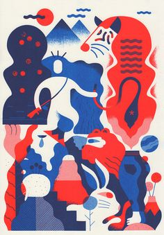 Dutch illustrator Antigoon was invited by the gallery to choose ten of his favourite illustrators to produce five collaborative prints – one artist working on the top half, the other creating the bottom. In true surrealist style the results of these experiments are extremely unusual... The final prints have been risographed in blue and red, giving the entire project a sense of cohesion and a slick finished result.