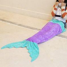 Lovely Color Block Mermaid Design Blanket For Kids (PURPLE) in Blankets & Throws   DressLily.com