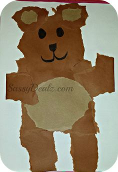 Teddy Bear Tear Kids Craft Art Project - Construction Paper, marker and glue stick! | http://www.sassydealz.com/2013/08/teddy-bear-tear-kids-craft-super-cheap.html