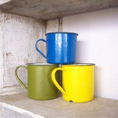 Trio of Vintage Enamel Ware Cups